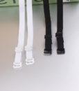 1 pair good quality black white 1cm width nylon elastic bra straps with metal clips 4