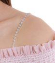 Closecret Women's Single Row of Rhinestone Bra Straps for Tube Dress(Silver, 1 Pair) 1