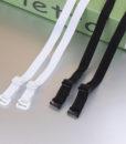 1 pair good quality black white 1cm width nylon elastic bra straps with metal clips 1